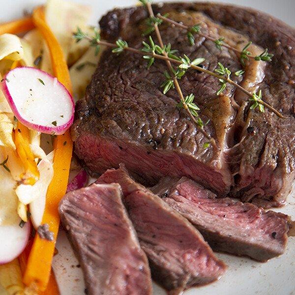 Grass-Fed Angus Beef Ribeye Steak - Cooked