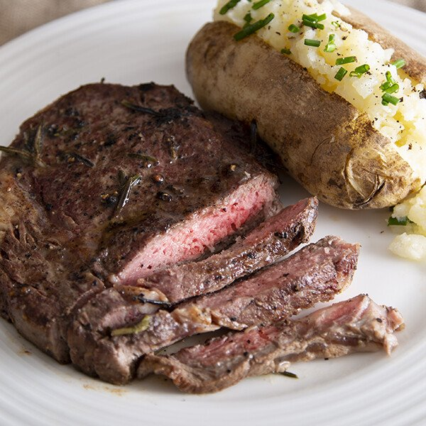 Grass-Fed Angus Beef Ribeye Steak - Cooked with Potato
