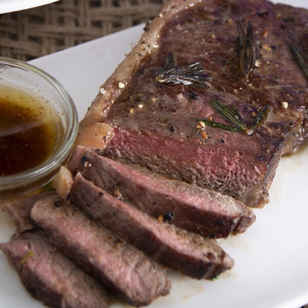 Grass-Fed Angus Beef New York Strip Steak - Cooked
